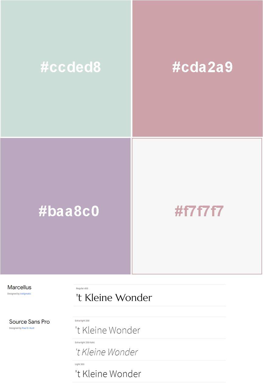 VP Design - Portfolio Website Design - Geboortezorg Lelystad en Verloskundigenpraktijk 't Kleine Wonder - Kleuren en fonts
